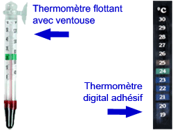 thermomètre digital et flottant